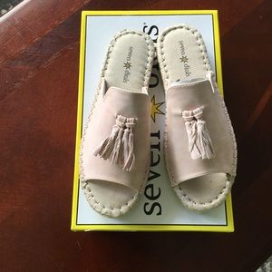 Pink Sueded sandals.  NIB. Size 6 1/2 M